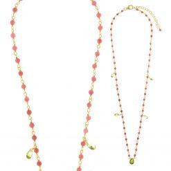 136C0122 Precio de venta al público : 105€ Collar de plata 925 chapado en oro turmalina rosa y gotas de peridoto